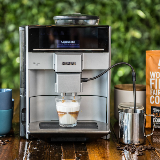 Siemens koffiezetapparaat EQ6 - Volautomatische espressomachine Siemens - Siemens koffiemachine - Bundles Moyee Coffee - Koffie abonnement apparaat